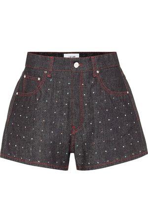 Kirin Embellished high-rise denim shorts