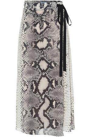 Prada Snake-effect silk wrap midi skirt