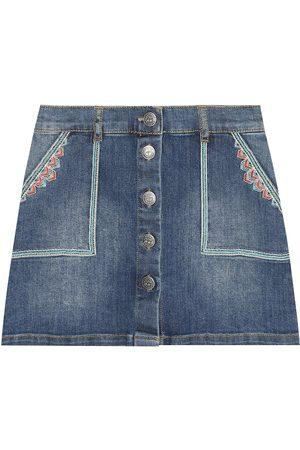 BONPOINT Exie embroidered denim skirt