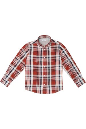Brunello Cucinelli Checked cotton and linen shirt