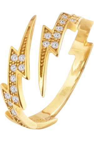 The Love Silver Collection 18Ct Plated Silver Lightning Bolt Cubic Zirconia Ring
