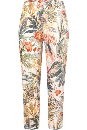 Green Cotton Trousers in 100% cotton floral print multicoloured size: 12