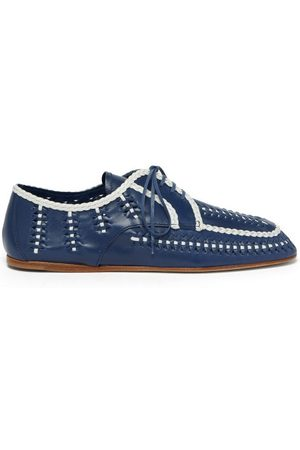 Prada Piped And Woven Leather Boating Shoes - Womens