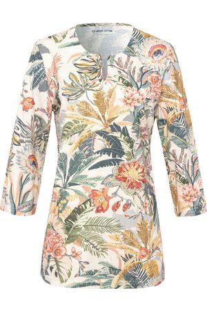 Green Cotton Split neck top in 100% cotton floral print multicoloured size: 20