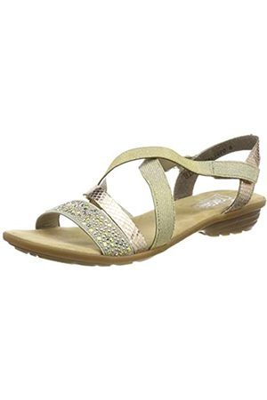 Rieker Womens Shoes V3463 Women's Sandals, Summer Shoes, Cushioned Sole, Velcro Closure, Elastic Laces on The Inside Combi ( /Kupfer/LightGold / 60)