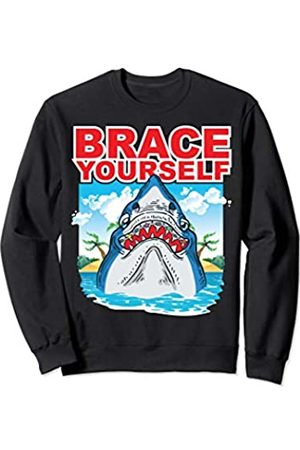 BCC Shark Shirts & Jawsome Sharks Gifts Brace Yourself Shark With Tooth Braces Movie Poster Sharks Sweatshirt
