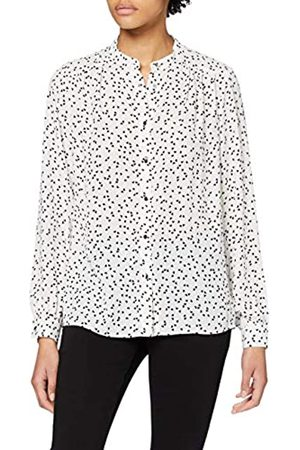 Dorothy Perkins Women's Ivory Heart Print Collarless Roll Sleeve Top Blouse