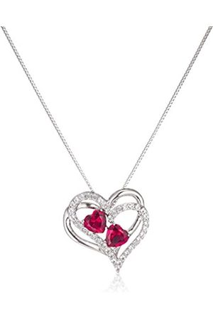 Amazon Collection Sterling Silver Created Ruby and Sapphire Double Heart Pendant Necklace
