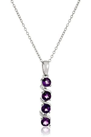 Amazon Collection Sterling Silver Genuine African Amethyst Four Stone Pendant Necklace
