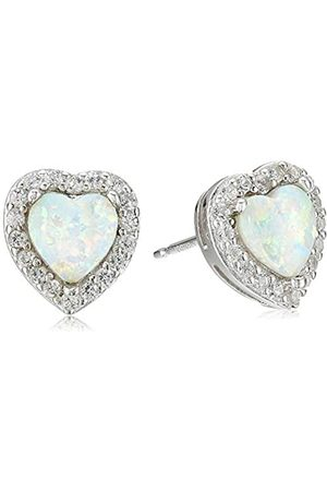 Amazon Collection Sterling Silver Created Opal and Created Sapphire Halo Heart Stud Earrings