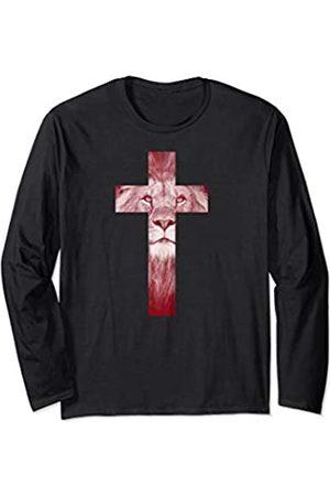 Gifts for Christians Co. Cool Lion Of Judah Cross Jesus Gift for Christians Men Women Long Sleeve T-Shirt