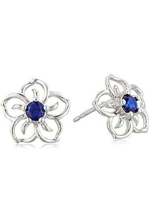 Amazon Collection Sterling Silver Created Sapphire Flower Stud Earrings
