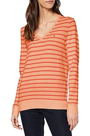 Tommy Hilfiger Women's V-NK SWTR T-Shirt, (Island Coral/Bright Ver SWT 0Jq)
