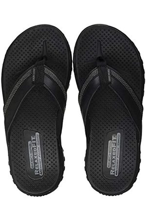 Skechers Men's Reggae COBANO Flip Flops, ( Leather Blk)