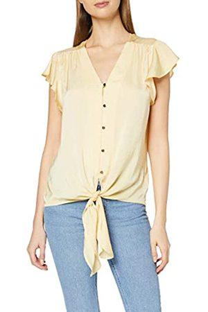 Dorothy Perkins Women's Lemon Ruffle Sleeve Button Through Top Blouse