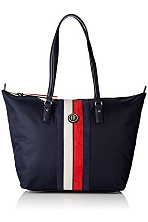 Tommy Hilfiger Womens Poppy Tote Corp Stripe Canvas and Beach Tote Bag (Tommy Navy)
