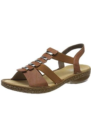 Rieker Women's Frühjahr/Sommer Closed Toe Sandals, (Cognac 22)