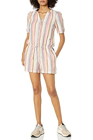 Goodthreads Washed Linen Blend Button Front Romper Shorts