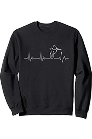 Funny Archery Shirts Co. Archer Heartbeat Electrocardiogram Archery Bow Arrow Womens Sweatshirt