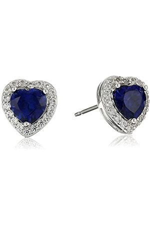 Amazon Collection Sterling Silver Created Blue Sapphire and Created White Sapphire Halo Heart Stud Earrings