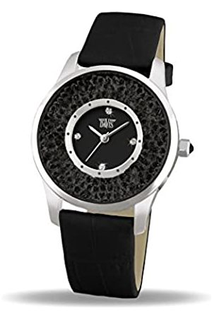 Davis 1783B - Womens Crystal Watch Swarovski Rhinestone Strass Dial Leather Strap