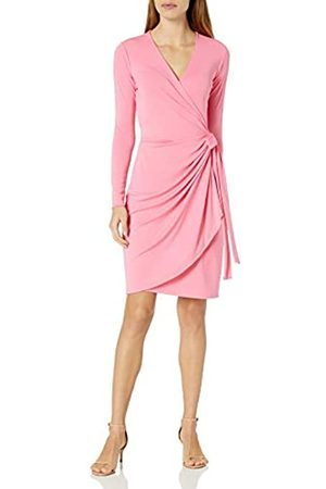 Lark & Ro Long-Sleeve Wrap Dress Vivid Poppy