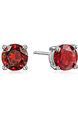 Amazon Sterling Silver Round Garnet Birthstone Stud Earrings (January)