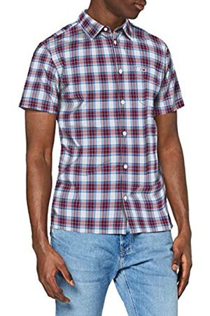 Tommy Jeans Men's TJM Shortsleeve Check Shirt Casual, ( /Multi 0Qy)