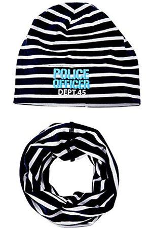 Salt & Pepper Boy's Mütze Gestreift Mit Schaumdruck Schriftzug Und Loop Scarf, Hat & Glove Set