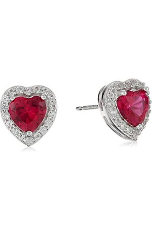 Amazon Collection Sterling Silver Created Ruby and Created White Sapphire Halo Heart Stud Earrings