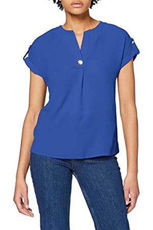 Dorothy Perkins Women's Cobalt Button V-Neck T-Shirt