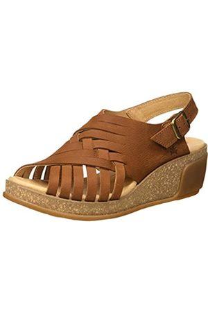 El Naturalista Women's N5018 Pleasant Leaves Open Toe Sandals, (Wood Wood)