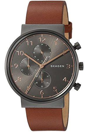 Skagen Mens Chronograph Quartz Watch with Leather Strap SKW6418
