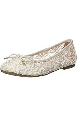 Tamaris Women's 1-1-22111-24 Closed Toe Ballet Flats, (Ivory Macramee 474)