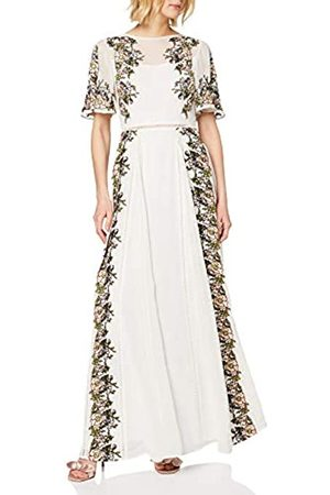 Frock and Frill Women's Joyce Embroidered Slimline Short Sleeve Maxi Party Dress