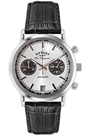 Rotary Men's Quartz Watch with Dial Chronograph Display and Leather Strap GS90130/06