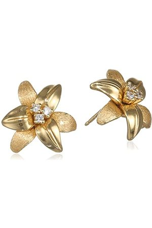 MISIS Women's Stud EARRINGS-I giardini di marzo 925 Silver Gold-Plated with Zirconia 2 CM-Or08515