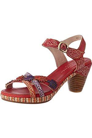LAURA VITA Women's Beclforto 02 Open Toe Sandals, (Rouge Rouge)