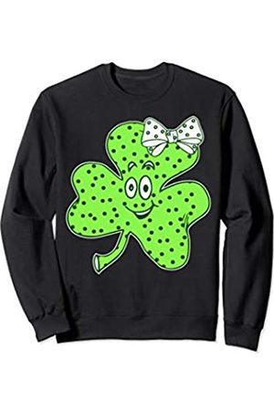 Cute St. Patrick's Day Shirts & Gifts Shamrock with Polka Dots & Bow - Girls Cute St Patricks Day Sweatshirt