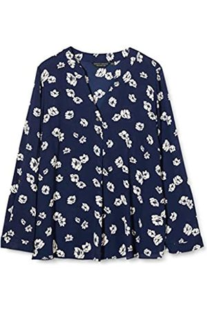 Dorothy Perkins Women's Navy Floral Double Button Collarless Roll Sleeve Top Blouse