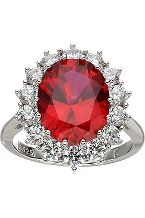 Amazon Collection Platinum-Plated Sterling Silver Created Ruby with Swarovski Accent Ring