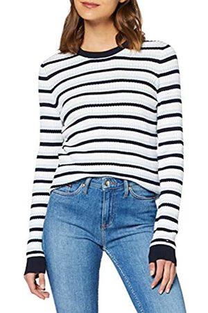Tommy Hilfiger Women's TH Essential Cable C-NK SWTR Sweatshirt, (Breezy /Dsrt Sky Multi 0Gz)