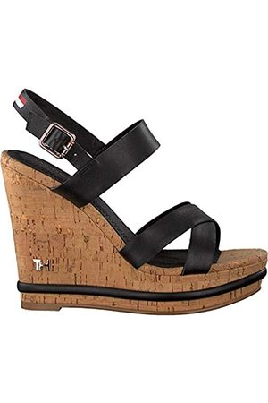 Tommy Hilfiger Women's Corporate Leather Wedge Sandal Closed Toe, ( Bds)