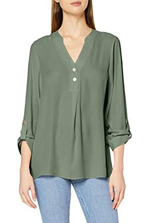 Dorothy Perkins Women's Khaki Double Button Collarless Roll Sleeve Top Blouse
