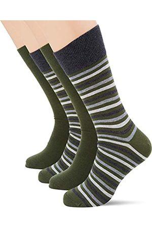 ESPRIT Men Multistripe 2-Pack Socks - Cotton Blend (Dark Moss 7617), UK 5.5-8 (Manufacturer size: 39-42)