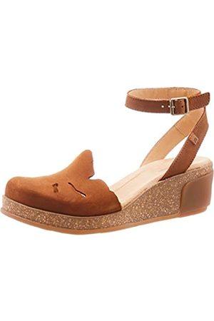 El Naturalista Women's N5017 Pleasant Leaves Ankle Strap Sandals, (Wood Wood)
