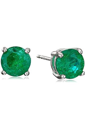 Amazon Sterling Silver Round Created Emerald Birthstone Stud Earrings (May)