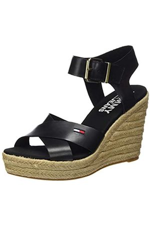 Tommy_Jeans Women's Natural Wedge Sandal Closed Toe, ( Bds)