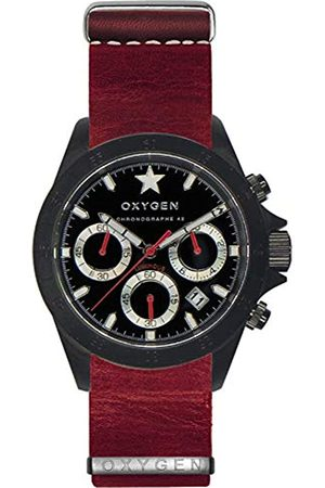 Oxygen Chrono Record 42 Mens Quartz Watch with Dial Chronograph Display and Leather Strap EX-C-REC-42-NL-RE