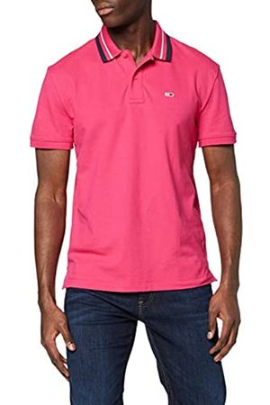 Tommy Jeans Men's TJM Classics Tipped Stretch Polo Shirt, (Bright Cerise T1K)